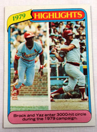 1980 Topps #1 1979 Highlights Lou Brock & Carl Yastremzski NRMT