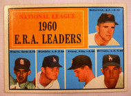 1961 Topps #45 NL 1960 ERA Leaders McCormick, Broglie, Drysdale, Friend, Williams EX