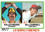 1978 Topps #208 1977 Leading Firemen Fingers and Campbell NRMT