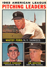 1964 Topps #4 1963 Pitching Leaders EX Ford, Pascual & Bouton