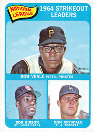 1965 Topps #12 1964 NL Strikeout Leaders EXMT.  Veale, Gibson, Drysdale.