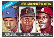 1966 Topps #225 1965 NL Strikeout Leaders EXMT. Koufax, Veale, Gibson.