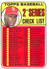 1969 Topps #107a 2nd Series Checklist Bob Gibson VGEX