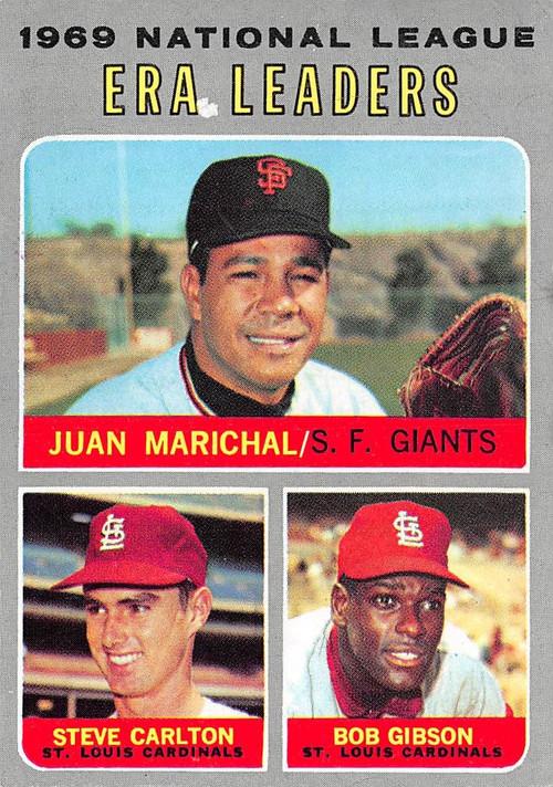 1970 Topps #67 1969 NL ERA Leaders EX Marichal, Carlton, Gibson (70T67EX)