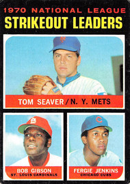 1971 Topps #72 1970 NL SO Leaders VG Seaver, Gibson, Jenkins