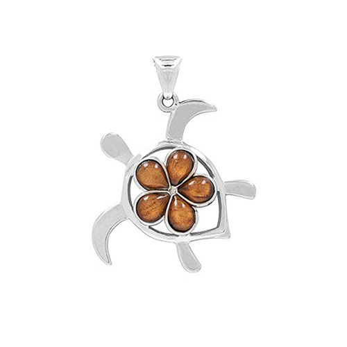 Sterling silver koa plumeria honu pendant royal hawaiian sterling silver koa plumeria honu pendant sm aloadofball Image collections