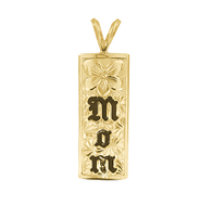 14K Hawaiian Mom Veritcal Pendant - 10mm