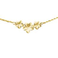 14K Plumeria Necklace - 3 Flower