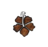 Sterling Silver Koa Hibiscus Pendant w/ Chain - 15mm