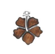 Sterling Silver Koa Hibiscus Pendant w/ Chain - 20mm
