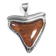 Sterling Silver Koa Sharktooth Pendant - Large