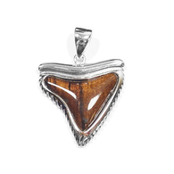 Sterling Silver Koa Sharktooth Pendant - Med