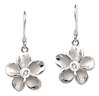 Sterling Silver Plumeria Earrings - 15mm Dangle