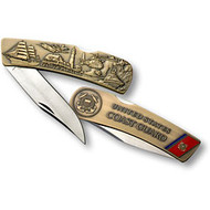Coast Guard Lockback Knife - Large Bronze Antique