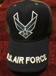 U.S. AIR FORCE VISOR Official item Black & Tan color Velcro back Hat