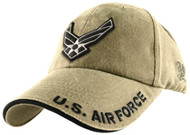 U.S. AIR FORCE Military LOGO Hat Official Kaki Brass Buckle