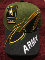 U.S. ARMY Military Hat Official ARMY LETTERS, Black & Green