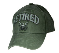 U.S. Navy RETIRED Military Hat Official OD GREEN Velcro Back