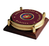 Marine Corps Seal Brass 2 Coaster Set