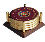 Marine Corps Seal Brass 4 Coaster Set