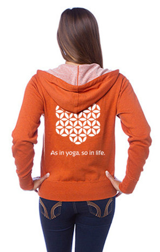 "Unisex Heather French Terry Zip Front Hoodie ""As in yoga, so in life."" by Three Minute Egg® in color Burnt Orange Heather BACK"