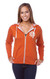 "Unisex Heather French Terry Zip Front Hoodie ""As in yoga, so in life."" by Three Minute Egg® in color Burnt Orange Heather FRONT"