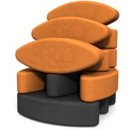 Biodegradable foam yoga block set Teacher's Dozen Yin Yang ECO by Three Minute Egg ® in color Orange and Charcoal Gray