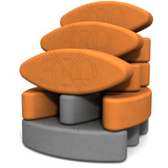 Biodegradable foam yoga block set Teacher's Dozen Yin Yang ECO by Three Minute Egg ® in color Orange and Slate Gray