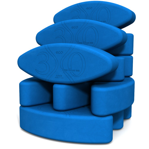 JUNIOR SIZE Biodegradable foam yoga block set Teacher's Dozen by Three Minute Egg ® in color Blue