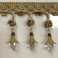 "4"" TASSEL FRINGE -37/40-3                SILVER  BLUE & ANTIQUE GOLD  ONLY 4.5 YARDS ARE AVAILABLE"
