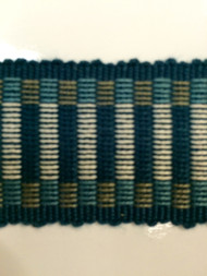 "1.5"" COTTON GIMP HEADER BRAID-5/2-46-44          CREAM,NAVY BLUE & TURQUOISE BLUE"