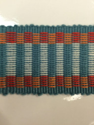 "1.5"" COTTON GIMP HEADER BRAID-5/1-30-44        WHITE,RED & TURQUOISE BLUE"