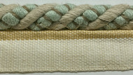 "3/8"" LINEN  ROUND CORD EDGE WITH LIP-2-L/6-39          NATURAL DARK TAN & AQUA BLUE"