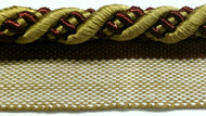 "3/8"" ROUND CORD EDGE WITH LIP-3/33-7-12       BURGUNDY,LIGHT BROWN & ANTIQUE GOLD"