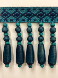 "2"" WOOD BEADED TASSEL FRINGE-61/2-46-44  NAVY BLUE & TURQUOISE BLUE"