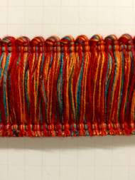 "2"" COTTON BRUSH FRINGE-2/44-30-49              TURQUOISE BLUE,RED & AMBER"