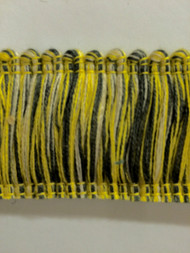 "2"" COTTON BRUSH FRINGE-2/2-10-37     CREAM,YELLOW & DARK GREY"