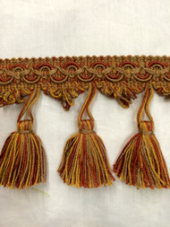 "3"" TASSEL FRINGE-18/12-35            ANTIQUE GOLD & RUST"