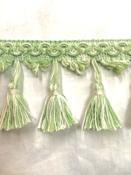 "2"" TASSEL FRINGE-18/2-14            WHITE  & LIGHT GREEN"