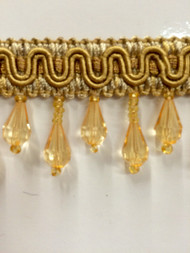 "1.5"" CRYSTAL BEADED TASSEL FRINGE-57/12       ANTIQUE GOLD"