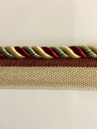 "1/4"" ROUND CORD EDGE WITH LIP-CE-S/1042-1       BURGUNDY,GOLD & LT GREEN"