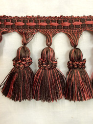 "3.5"" TASSEL FRINGE -7/8-22          BROWN & CORAL"