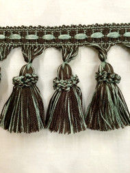 "3.5"" TASSEL FRINGE -7/8-39          BROWN & AQUA BLUE"
