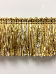 "1.75"" Brush Fringe Trim Extra  BRF-3/11-12-2  (Gold & Creamy White)"