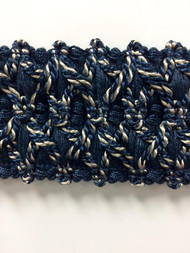 "2.25"" Fancy Gimp Header Tape  H-70/46-4  (Navy & Taupe)"