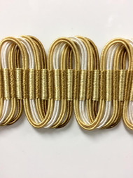 "1 5/8"" Fancy Gimp Header  H-69/11-12-2  (Gold & Creamy White)"