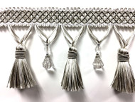 """4 1/4"""" Fancy Crystal Tassel Fringe TF-69/50-2 ( Silver & Creamy White)"""