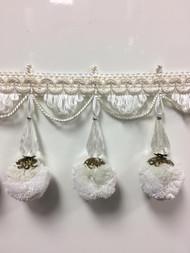 """3.75"""" French Pom Pom Crystal Tassel Fringe Trim TF-68/1-2 (Creamy White)"""