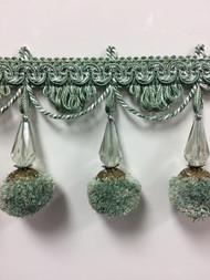 """3.75"""" French Pom Pom Crystal Tassel Fringe Trim TF-68/39-4 (Green & Creamy White)"""