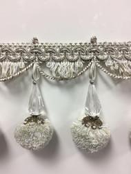 """3.75"""" French Pom Pom Crystal Tassel Fringe Trim TF-68/50-2   (Sage Green & Creamy White)"""